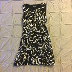 Express - Black and White Fit & Flare Dress